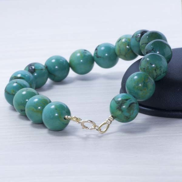 18 kt Gold bracelet with Turquoise – 21 cm