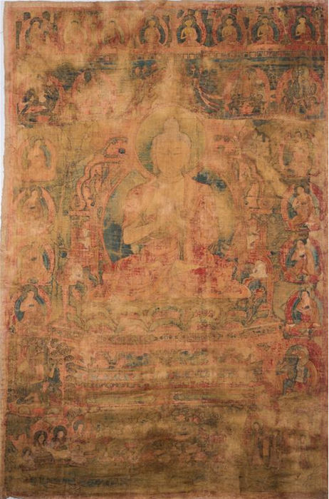 Large Thangka depicting Buddha Sakyamuni (cm 62,00 x 96,00) - Tibet - 16th century