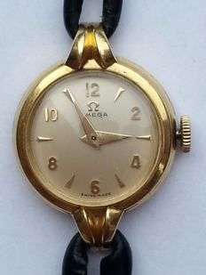 18 kt gold Omega Vintage women's watch, 17 jewels, 1950