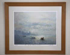 Print by Lui Ming (China moved to Hong Kong) Limited Edition 1/200 (The sky of Victoria Harbour) Signed by artist in pencil - 20th century