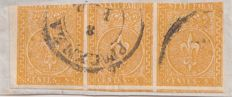 Parma 1852 – Strip of three 5 cents yellow, cancelled to Piacenza – Sassone no. 6