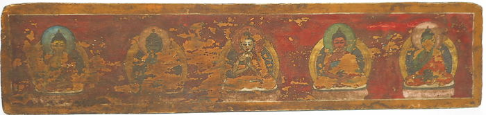 Polychrome wooden book cover with gold decorations - Tibet - 18th century