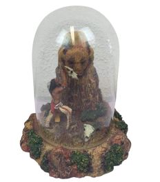 "Franklin Mint - Limited Edition - hand-painted sculpture by R.F. Murphy ""Great spirit of the plains"" in glass bell jar."