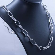 Necklace in 925/1000 silver with Italian Grecca design – Length: 61 cm