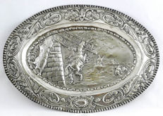 Silver embossed oval plate. Spain, 19th century