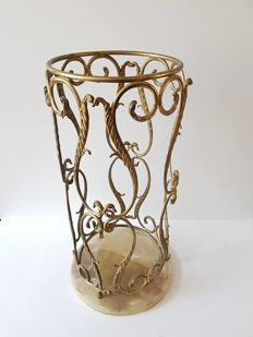 Solid brass umbrella holder with onyx base - from the 30/40s -Italy