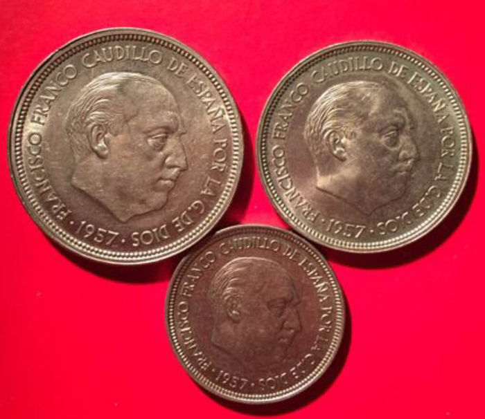Spain - Lot of three coins - 50 pesetas - Francisco Franco - 2nd Coin Exhibition - 1957 - (BA) Barcelona