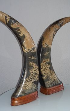 A set of beautifully decorated water buffalo horns.