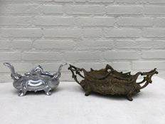 Two Zamak planters in Rococo style with inner tray