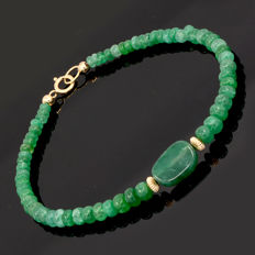 18k/750 yellow gold emeralds bracelet - Length 20 cm.