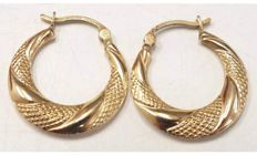 375 9ct YELLOW GOLD Creole Hoop Earrings, 1.5g