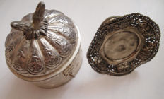 Antique beautifully crafted silver plated bonbonnière and tea box