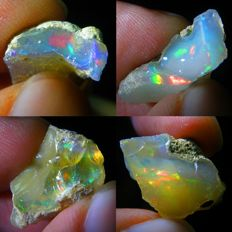 Four Top Lot of Colour Play Effect Welo Opals Ethiopia - 27.86 ct (4)