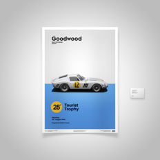 Ferrari Collection - fine art print - Ferrari 250 GTO WHITE - GOODWOOD 1963 - 70CM X 50CM