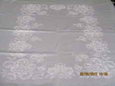 Pale pink silk damask tablecloth