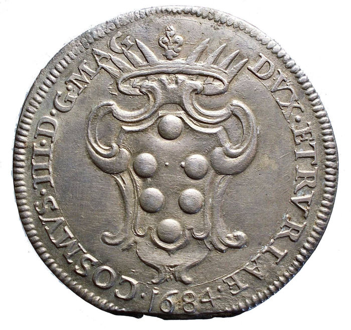 Livorno - Piece of the rose, 1684 - Cosimo III (1670 - 1723) - Silver