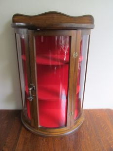 Half round wooden display cabinet with glass - first half of 20th century - Belgium