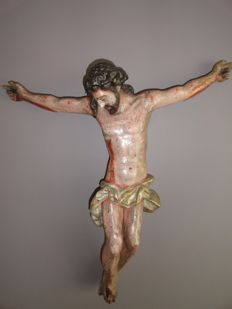 Large wooden corpus with the original polychrome - Spain - 18th century