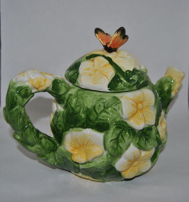 Hand-painted ceramic teapot