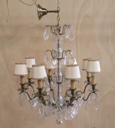 8-armed crystal chandelier - mid 20th century