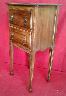 Handcrafted two-drawer bedside table, solid fir wood, early 20th century, Italy.