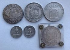Italy — lot of 6 silver coins