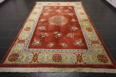 Beautiful old hand-knotted, Chinese carpet, Art Deco, Beijing, old rug, 200 x 300cm