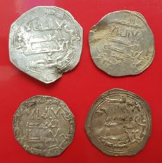 Spain - Lot of 4 Dirham in silver, Abd Al-Rahman II, Al-Andalus.