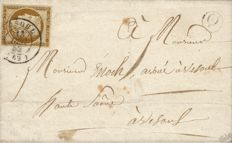 France 1850 – Cérès 10 centimes bistre very dark brown, cancellation with a date stamp from Vesoul on letter with certificate – Yvert No. 1a