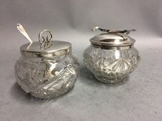 Jampot and sugar bowl with silver plated lid, England, ca. 1940