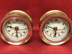 Ship's time - pair of brass clocks for ships