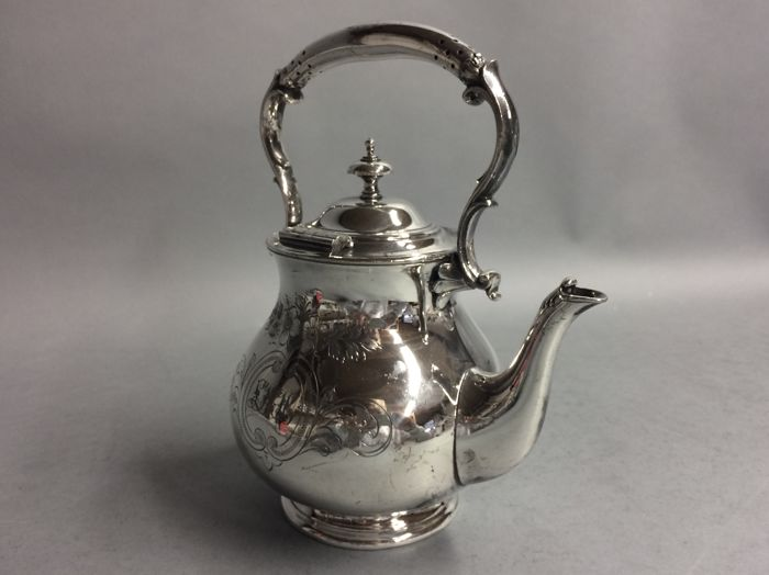 Silver plated tea pot with floral decoration, England, ca 1900