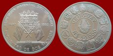 Uruguay - 50000 New Pesos, 1991.  Ibero-American series, encounter between two worlds.  silver.