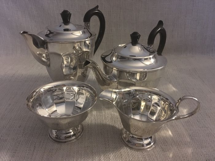 "Vintage silver plated four piece tea and coffee set with smooth design second half of 19th century "" VINERS OF SHEFFIELD "" ENGLAND"