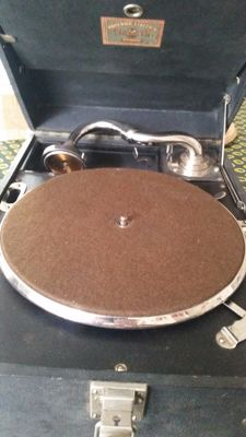 Polydor-Electrix gramophone with accessories (spring, crank, stylus box, disc) 20th century