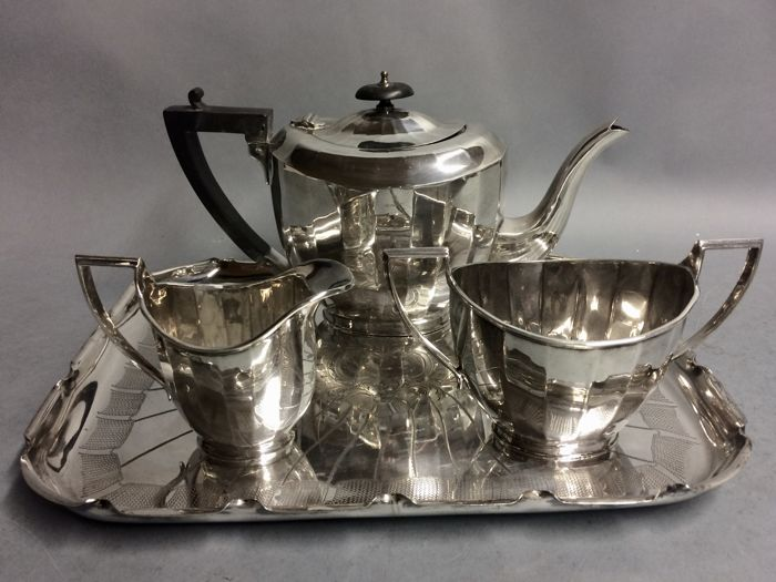 Art Deco silver plated tea set on a serving tray