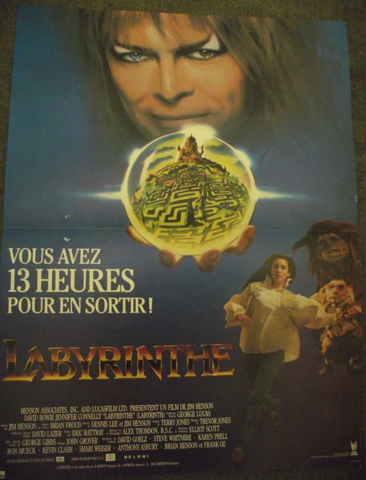 David Bowie Labyrinth French Film Poster Labyrinthe