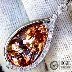 Natural Morganite And Diamond Pendant with Necklace Cocktail PEACE PINK Gemstone in 18 kt 8.90 ct - Certified - No Reserve