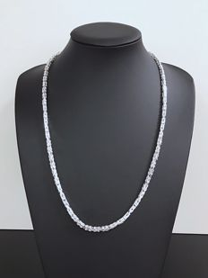 925/1000 silver Byzantine link necklace, length: 64.5 cm