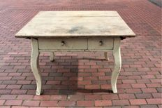 Nostalgic table with two drawers. With original paint, the Netherlands, 1930s