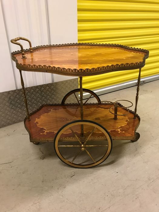 Vintage ornate bar cart/serving trolley, brass/wood.