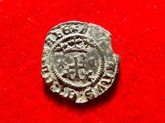 Spain – Catholic Kings (1474–1504), rare copper blanca coin. Cuenca. Six-pointed star and gothic C.