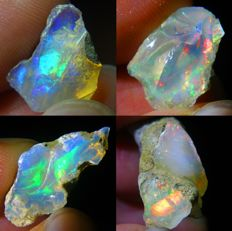 Four Top Lot of Colour Play Effect Welo Opals Ethiopia - 21.64 ct (4)