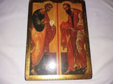 2 Russian icons on wood - Apostle paul and his pupil Luca - late 18th century