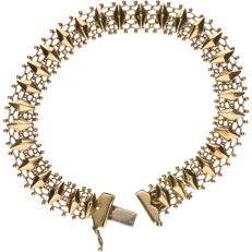 14 kt - Yellow gold fantasy link bracelet – Length: 18 cm