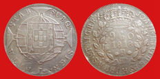 Brazil - Joao VI king of Brazil, 960 silver Reis minted in the year 1818 in Rio de Janeiro on a Spanish 8 reales coin.