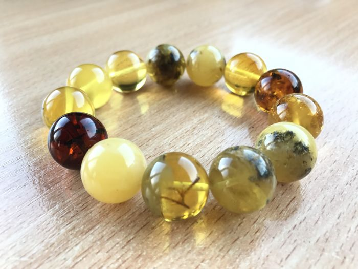 Natural Baltic Amber bracelet, not pressed, not modified, 32 grams