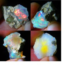 Four Natural Beautiful Colour Play Welo Opals - 26,35 Ct (4)