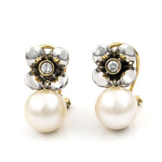 750/1,000 (18 kt) Yellow gold and White gold - Earrings - 2 brilliant cut diamonds - 2 Cultured Akoya pearls