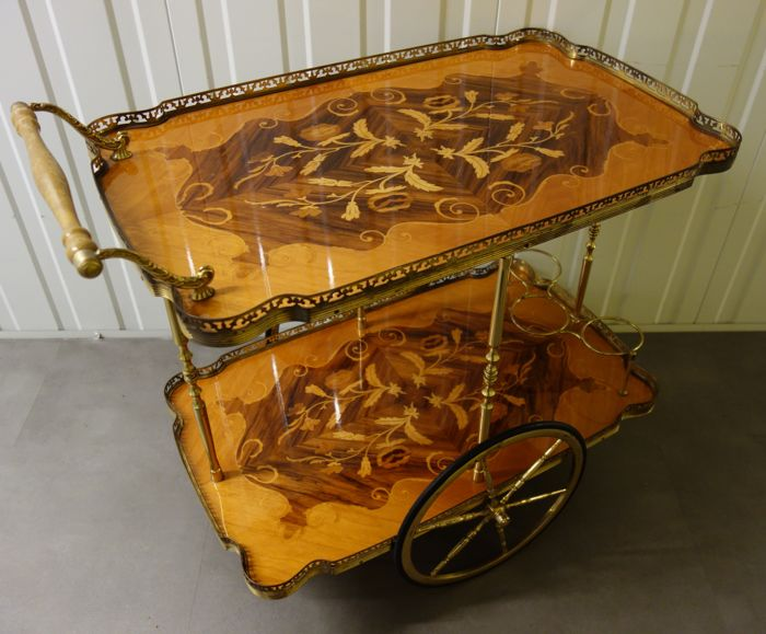 Serving trolley in brass with inlaid wood motif - France - ca 1975